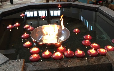 Font with candles
