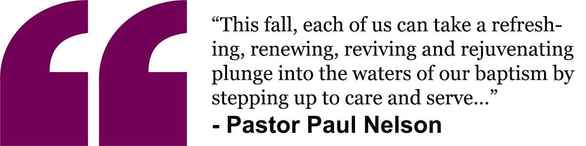 Pastor Paul…plunge in